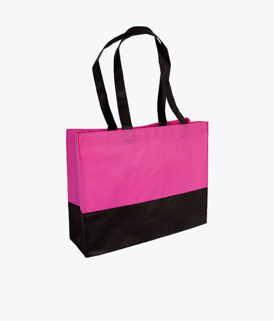 PP-Tasche City-Bag 38 x 29 x 10 cm pink schwarz 2-farbig