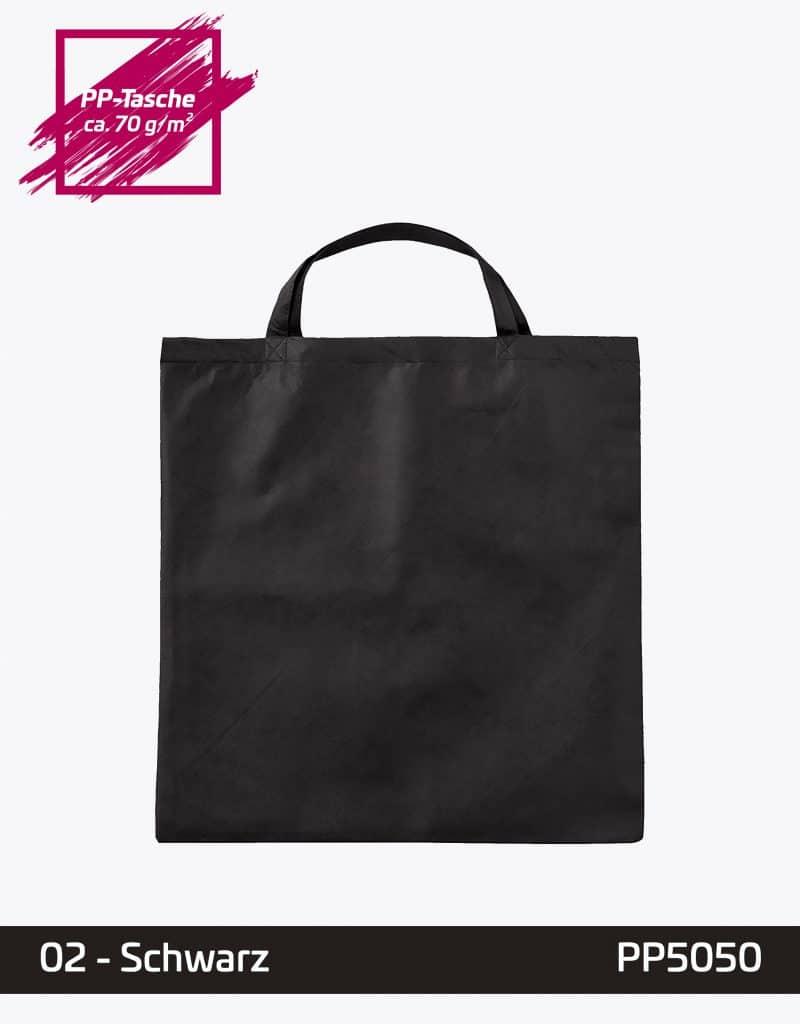 PP Tasche Quadratisch schwarz kurze Henkel 50x50cm