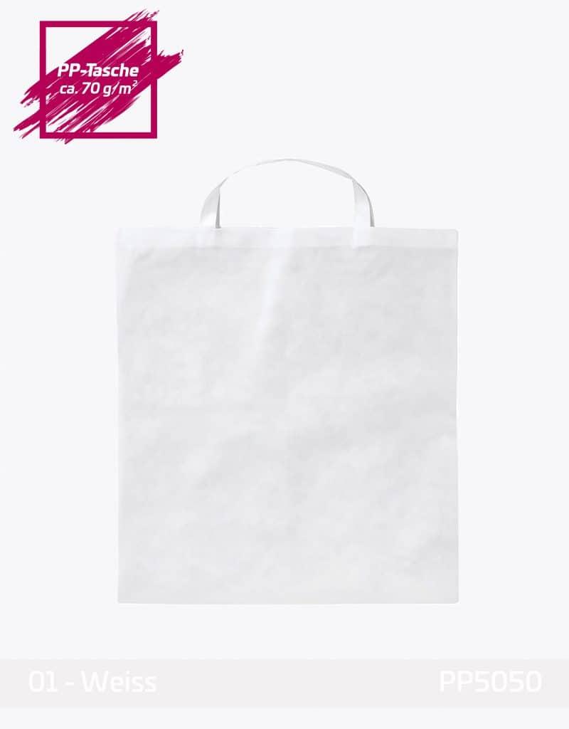 PP Tasche Quadratisch weiss kurze Henkel 50x50cm