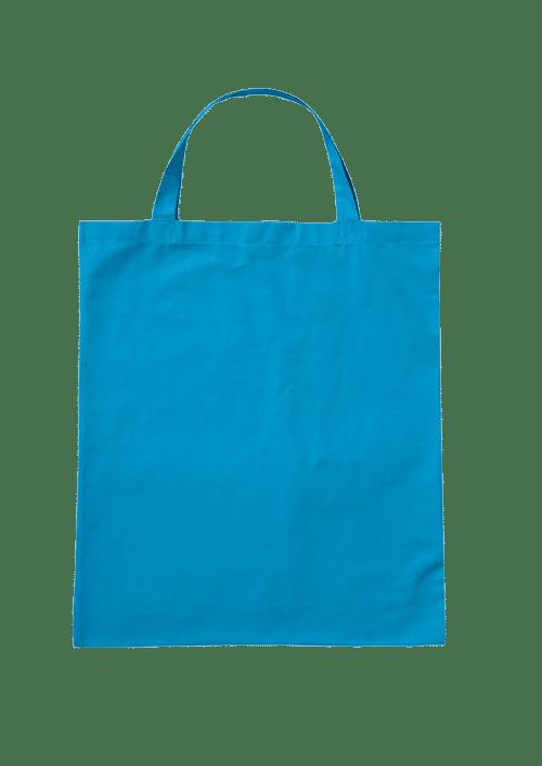 Baumwolltasche unbedruckt mit kurzen Henkeln hellblau