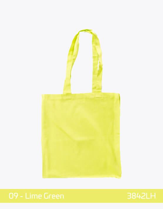 Baumwolltaschen lange Henkel Lime Green lindgrün 38 x 42 cm 3842LH