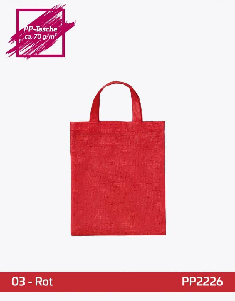 PP Apothekertasche rot kurze Henkel 22x26cm