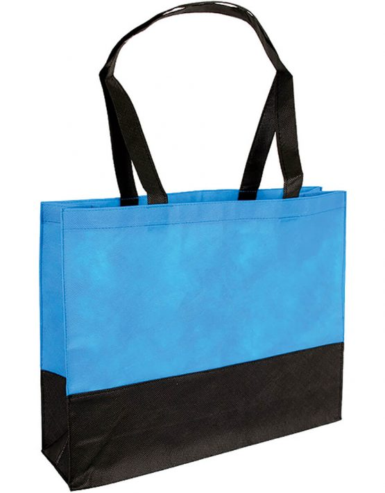 PP Tasche City Bag mit langen Henkeln Hellblau/Schwarz | Druckerei Dorsten.de-schwarz