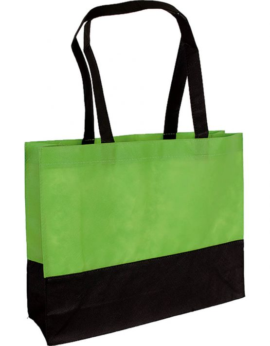 PP Tasche City Bag mit langen Henkeln Hellgrün/Schwarz | Druckerei Dorsten.de-schwarz