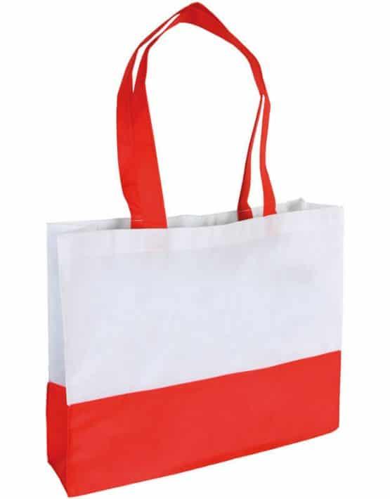 PP Tasche City Bag mit langen Henkeln Weiß/Rot | Druckerei Dorsten.de-schwarz