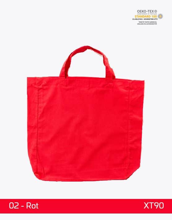 Baumwolltasche Rot kurze Henkel Boden und Seitenfalte
