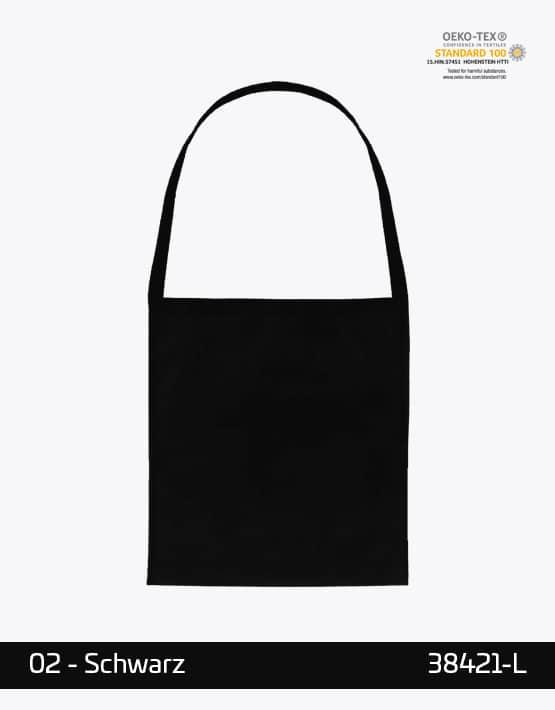 Baumwolltasche mit einem langen Henkel Schwarz 38 x 42 cm 38421-L