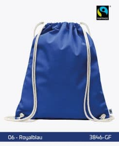 Fairtrade Turnbeutel Gymsack Royalblau 38 x 46 cm 3846-GF