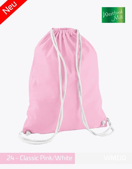 Turnbeutel Westford Mill WM110 Gymsac Classic Pink White