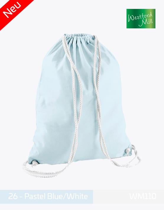 Turnbeutel Westford Mill WM110 Gymsac Pastel Blue White