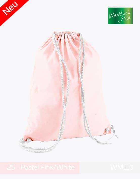 Turnbeutel Westford Mill WM110 Gymsac Pastel Pink White
