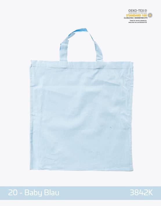 Baumwolltasche Babyblau kurze Henkel