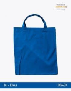 Baumwolltasche Blau kurze Henkel