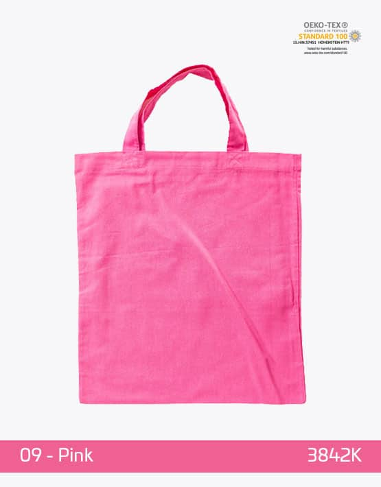 Baumwolltasche Pink kurze Henkel