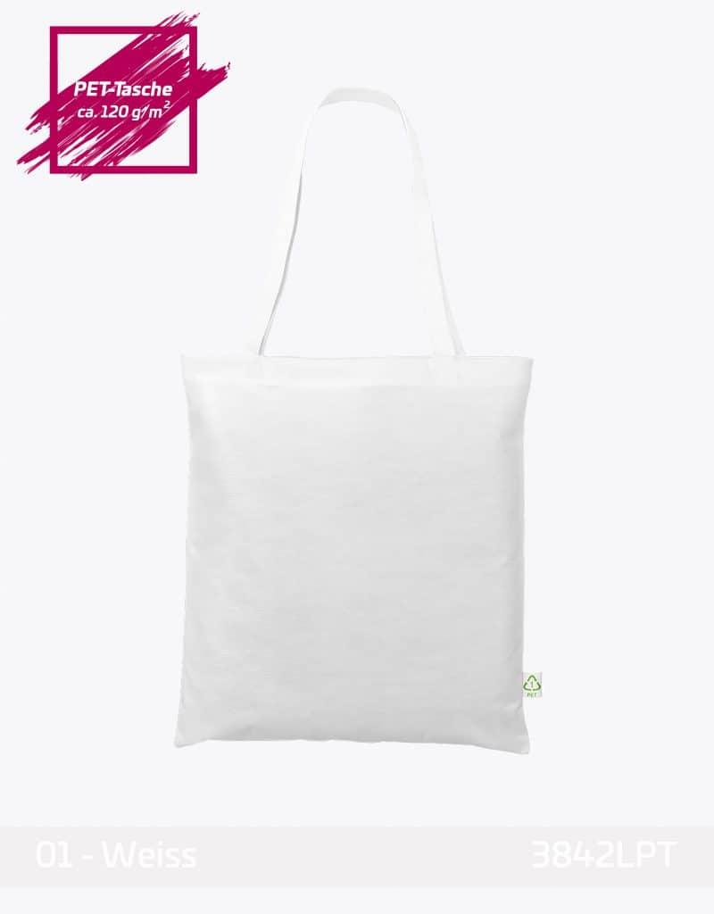 PET Recycling weiss lange Henkel 38x42 cm Einkaufstasche